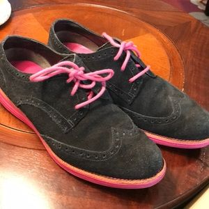 Cole Haan Black and Pink Suede Lunar grand Sz 8
